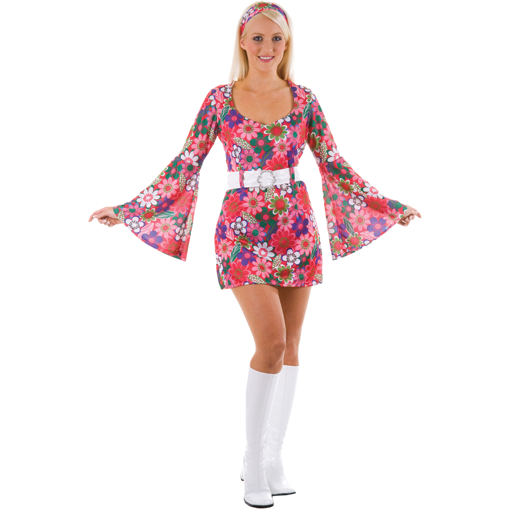 1960s style flower power reto go go girl ladies fancy dress halloween costume ebay. Black Bedroom Furniture Sets. Home Design Ideas