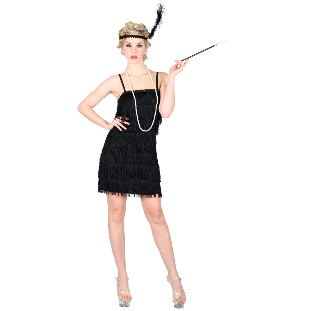 New 1920s Charleston Flapper Girl Black Fancy Dress Party ...