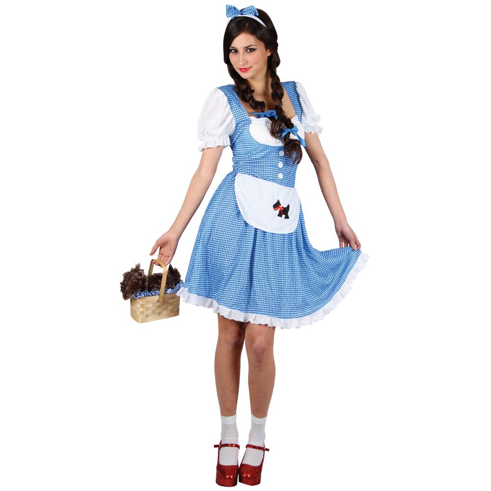 ladies dorothy wizard of oz judy garland fancy dress party halloween costume new - Dorothy Halloween Costume Women