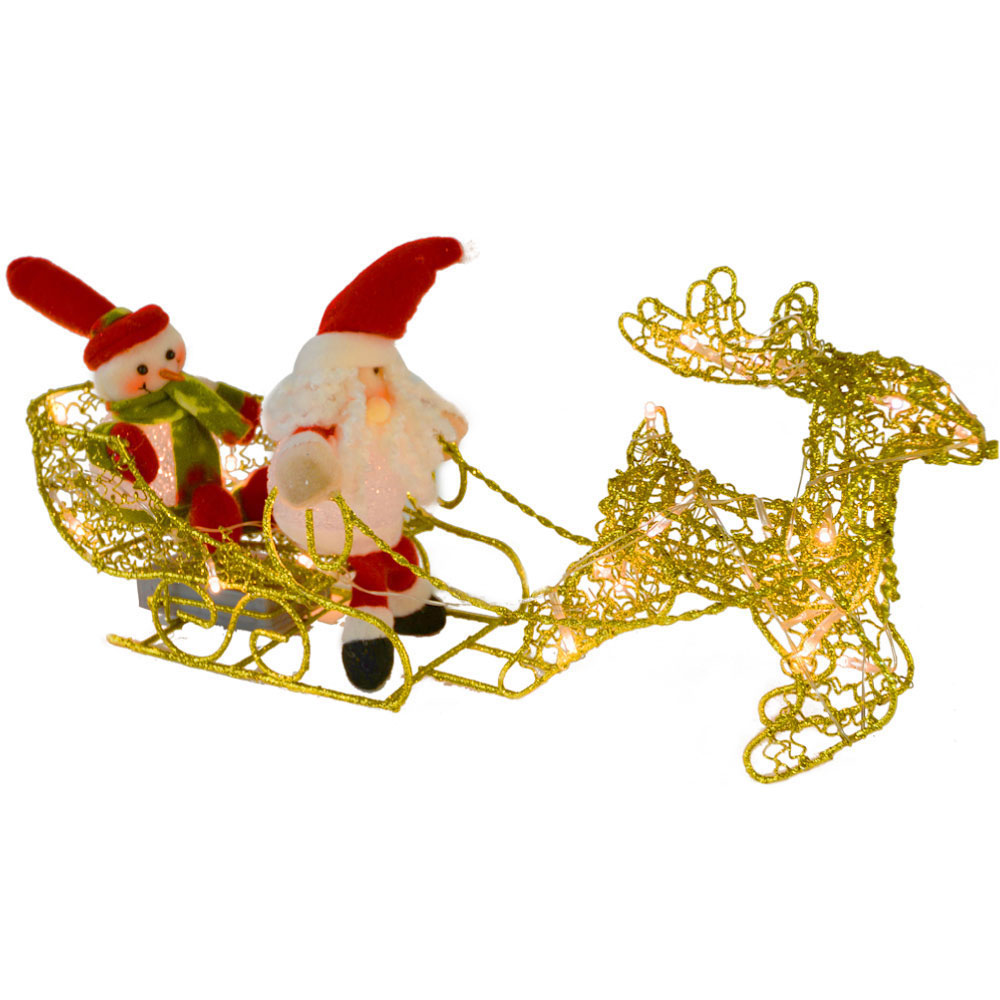 led light up gold wire reindeer sleigh snowman christmas. Black Bedroom Furniture Sets. Home Design Ideas