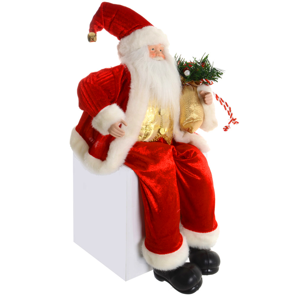 "Santa Claus Decorations Uk: Deluxe 50cm 20"" Red Suit Sitting Santa Claus Festive"