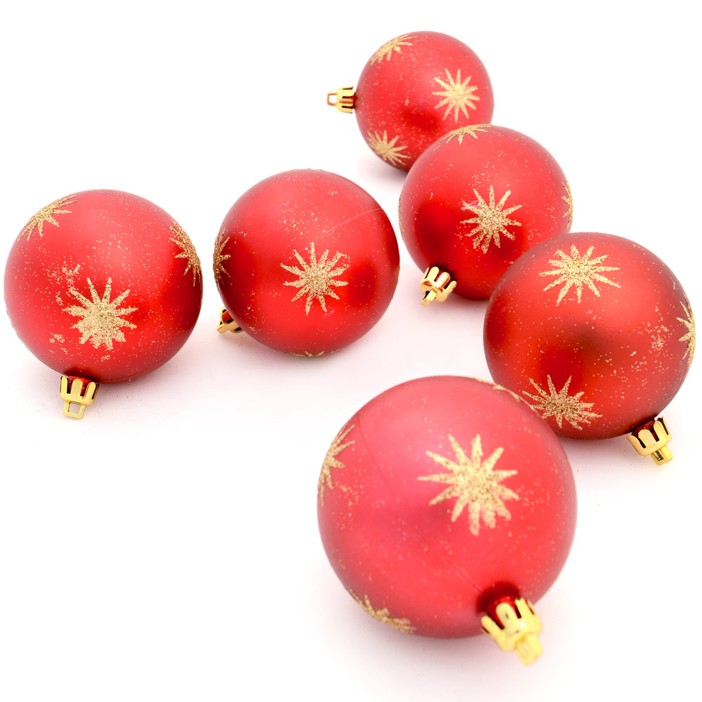 6 X 7cm Red Hanging Christmas Baubles Gold Glitter Star