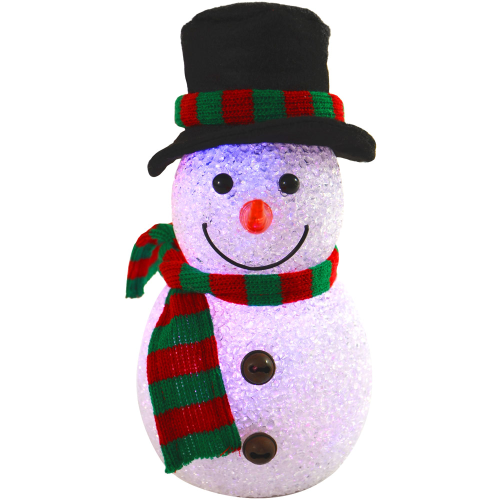 22cm Colour Changing Light Up EVA Snowman With Hat & Scarf ...