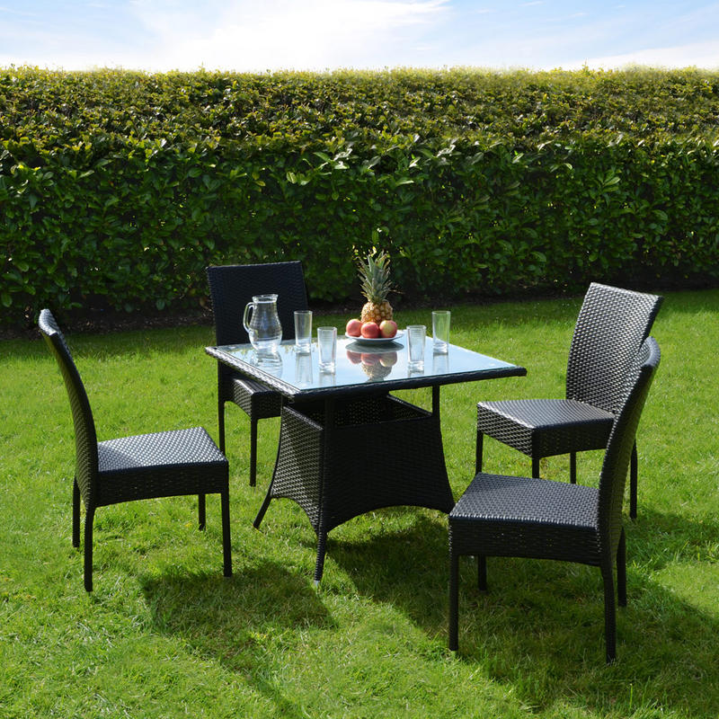 Azuma 5 Piece Brittany Wicker Rattan Dining Table Chair Garden Patio Furniture Set - Black Preview