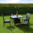 Azuma 5 Piece Brittany Wicker Rattan Dining Table Chair Garden Patio Furniture Set - Black Thumbnail 1
