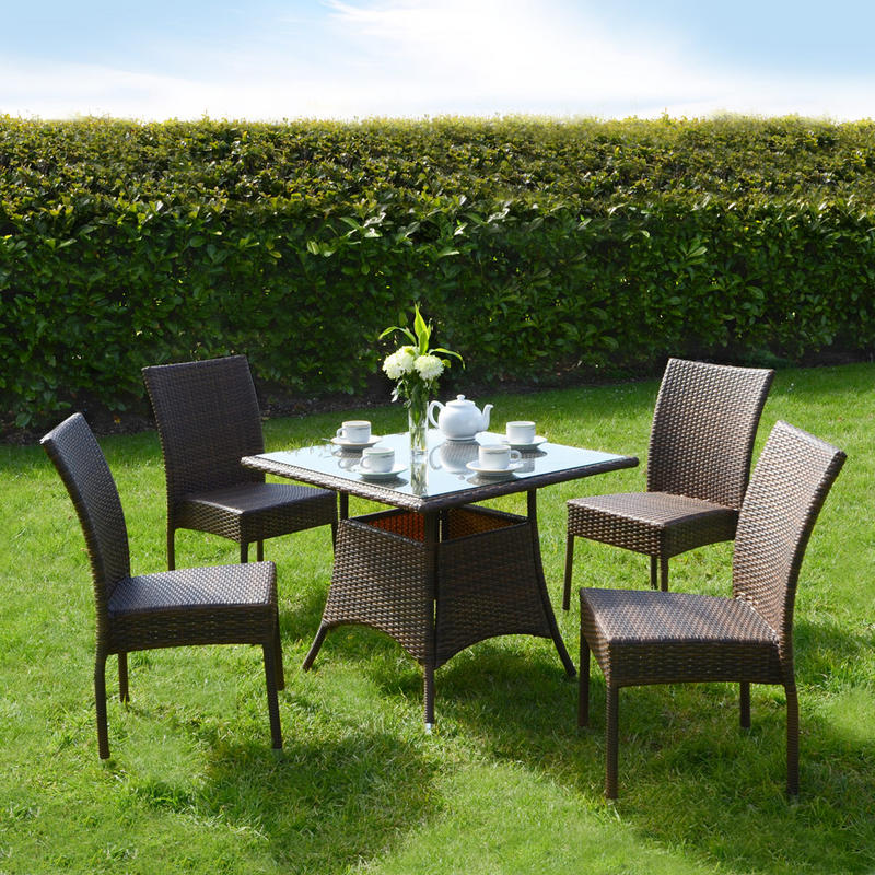 Azuma 5 Piece Brittany Wicker Rattan Dining Table Chair Garden Patio Furnitur