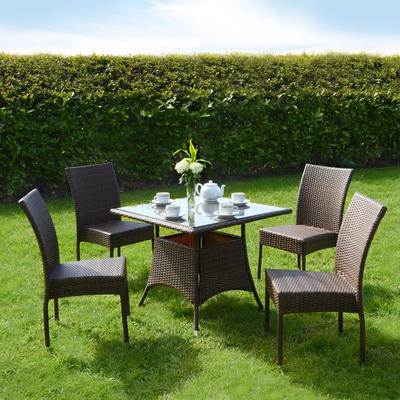 Azuma 5 Piece Brittany Wicker Rattan Dining Table Chair Garden Patio Furniture Set - Brown
