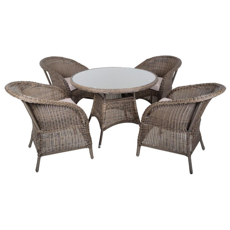 Marseille wicker rattan garden furniture table 4 chairs set for Outdoor table chairs