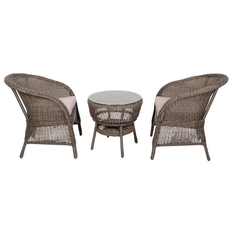 Marseille wicker rattan coffee table amp 2 chairs garden bistro set