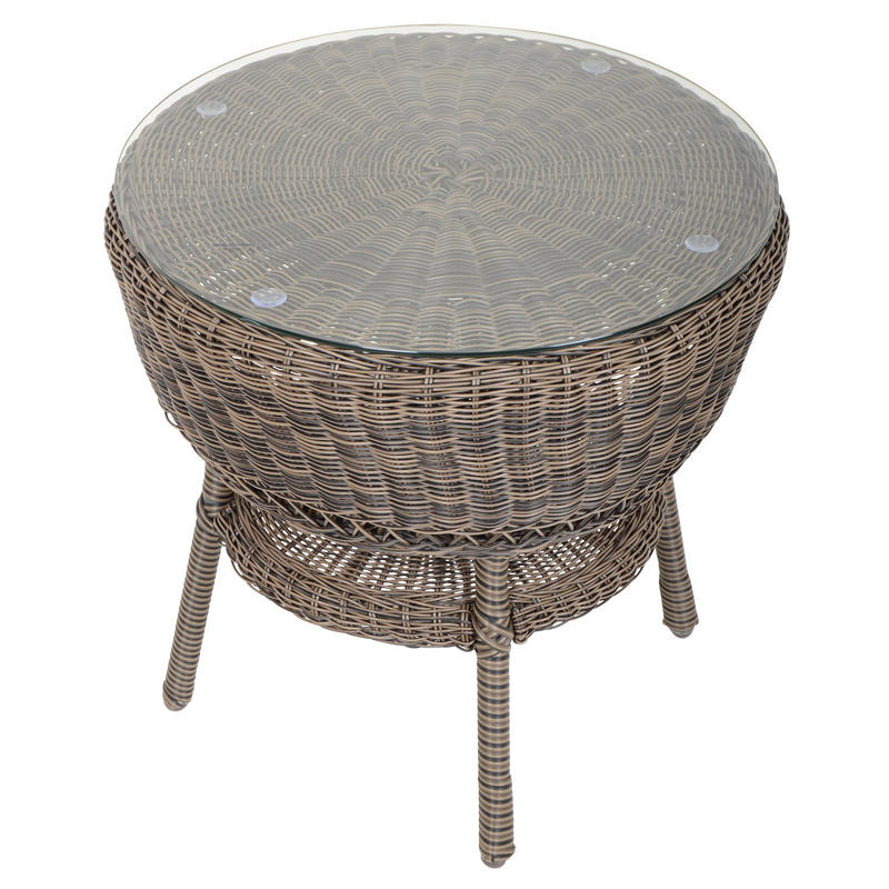 Round Wicker Coffee Table With Stools: Marseille Wicker Rattan Coffee Table & 2 Chairs Garden