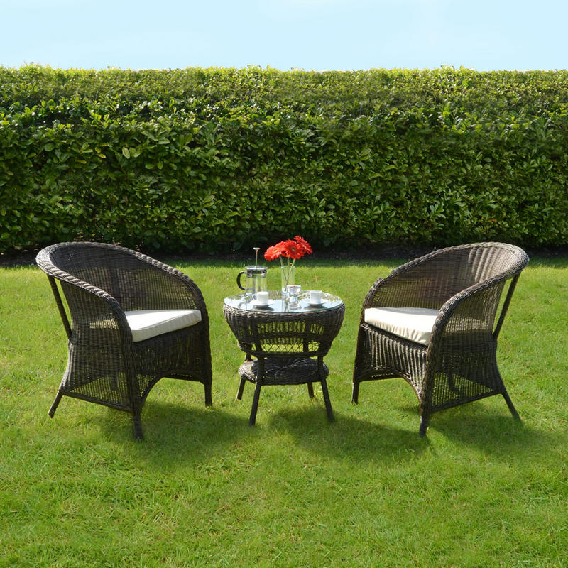 Marseille Wicker Rattan Coffee Table 2 Chairs Garden Bistro Set