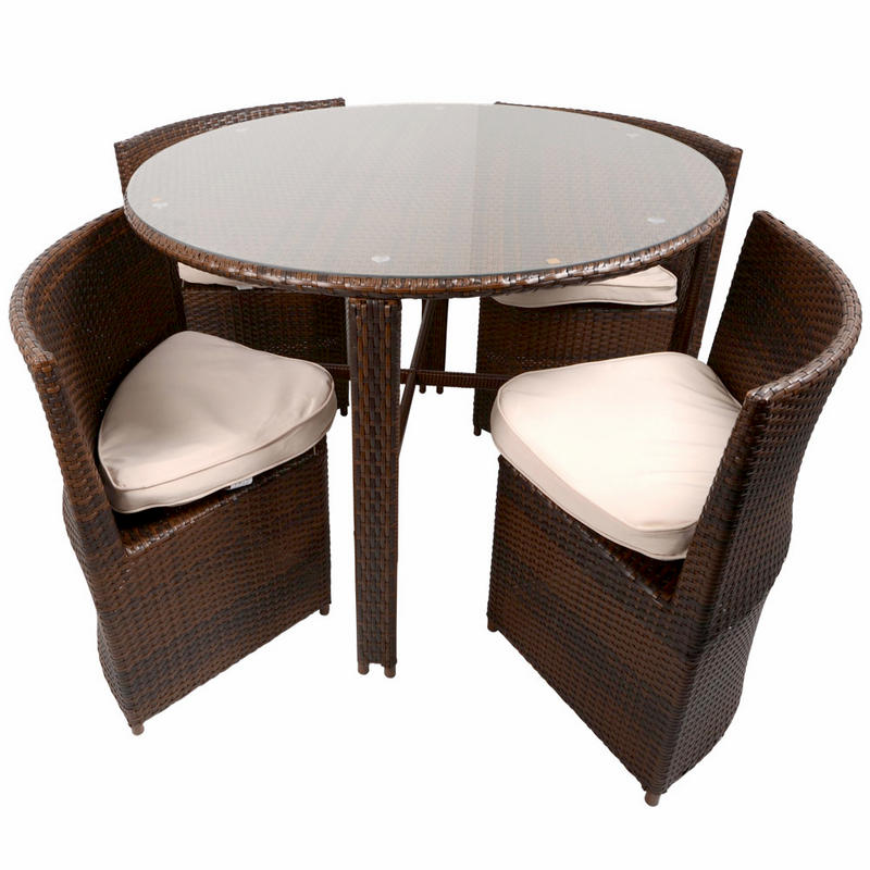 napoli rattan wicker dining garden furniture set with round glass top