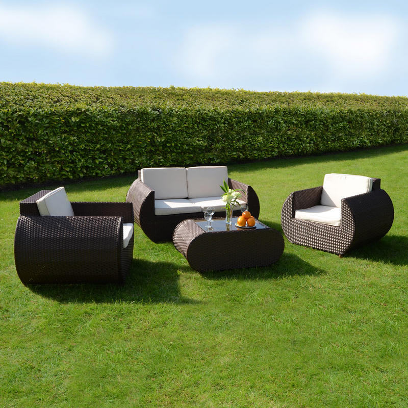 Azuma 4 Piece Panama Rattan Wicker Conservatory Garden Furniture Sofa Chair Seat Set  Preview