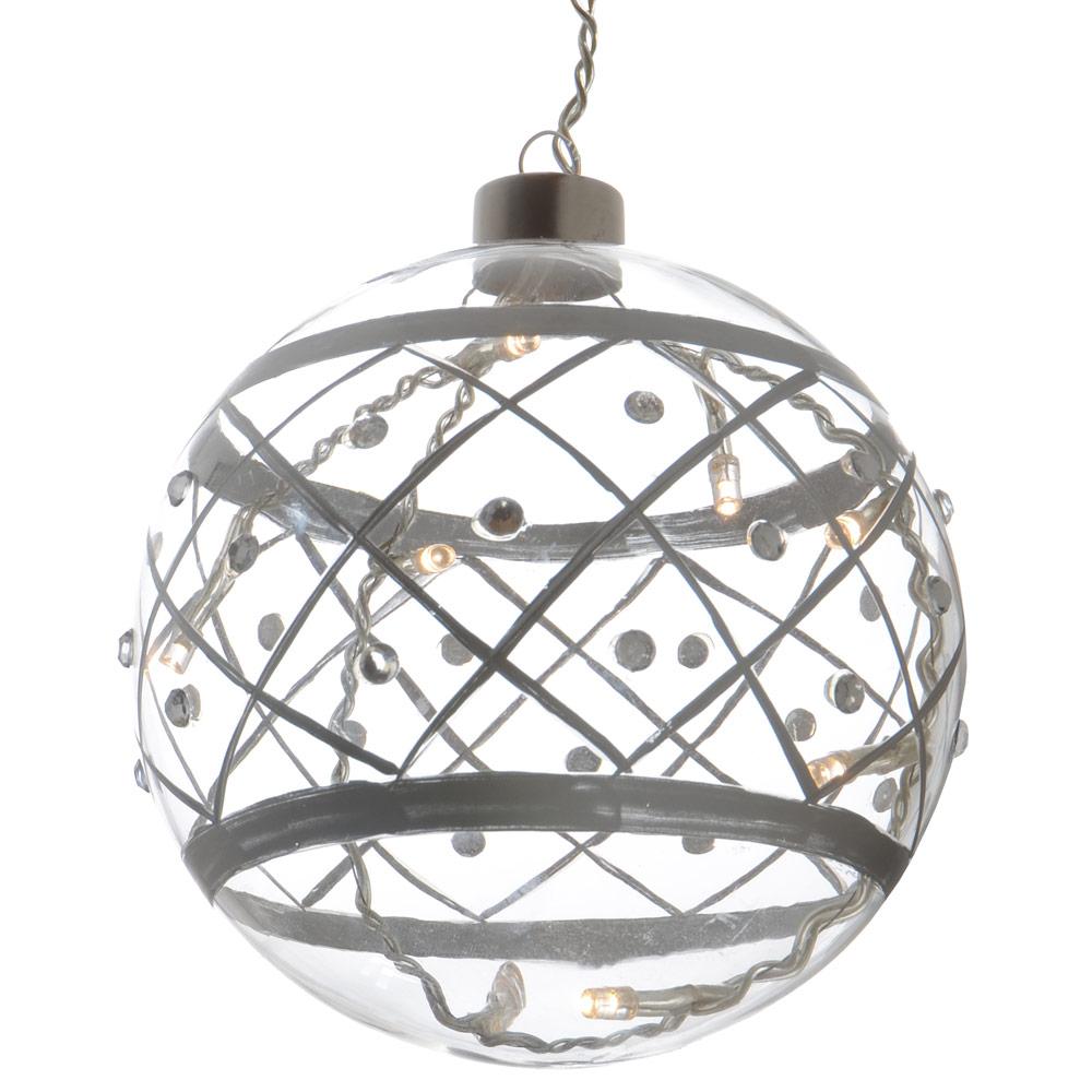 13cm Light Up Hanging Transparent Glass Ball Bauble Christmas Festive Decoration