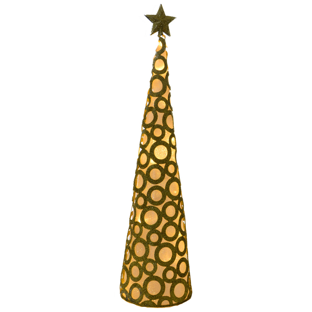 45cm warm white led light up glittery gold metal cone tree for Gold christmas tree lights