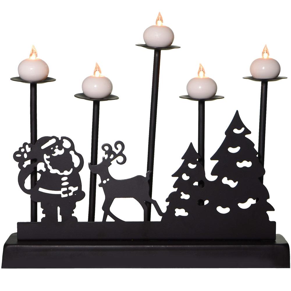 Light up black metal santa reindeer scene candle bridge