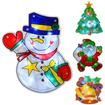 Light Up Battery Operated PVC Christmas Silhouette Window Decoration With 10 White LED Lights