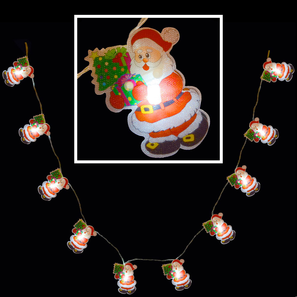 10 white led santa pvc fairy lights indoor battery for Led christmas decorations
