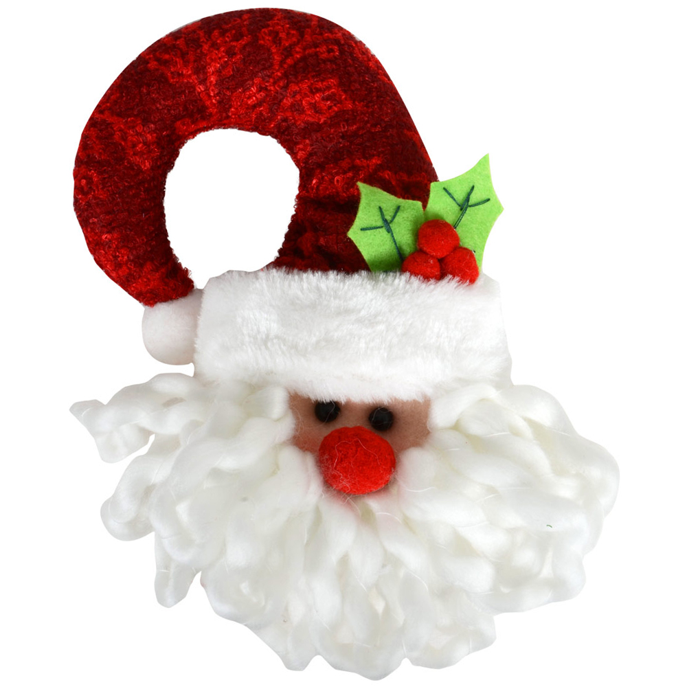 Quality Santa Claus Fabric Door Handle Knob Hanger Christmas Festive Decoration