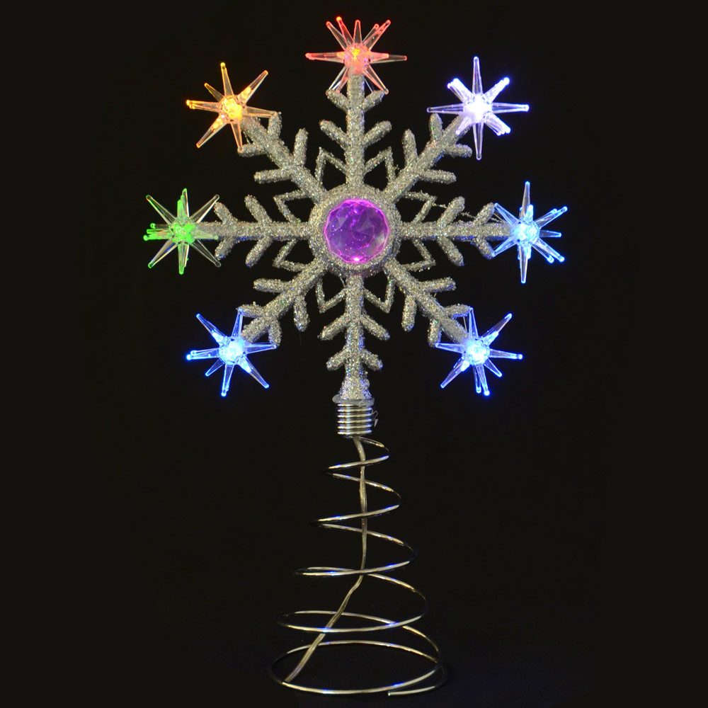 LED Light Up Flashing Silver Snowflake Tree Topper