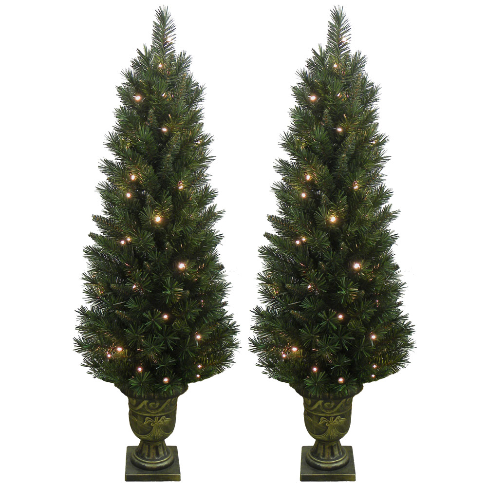 Set Of 2 Prelit Warm White Lights Artificial Green Pine