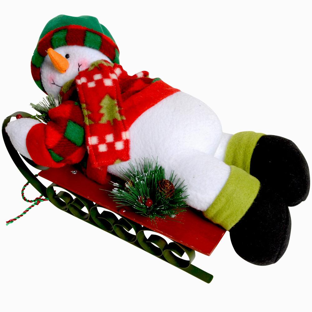 Snowman on painted metal wood sledge christmas ornament