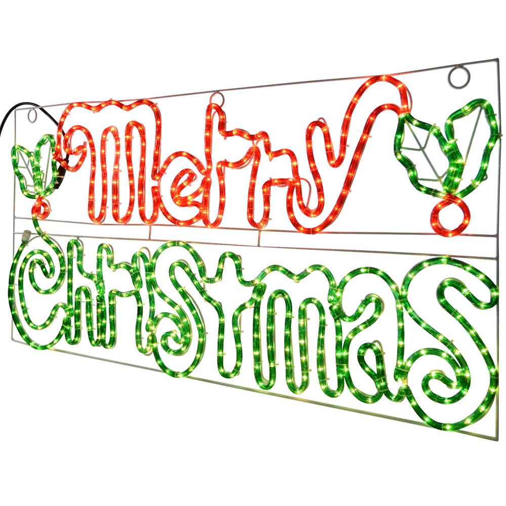 Merry christmas light up sign indoor outdoor use rope light for Outdoor christmas signs