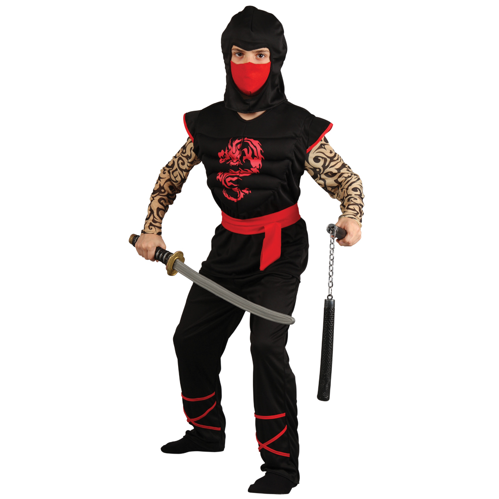 Boys Muscle Chest Japanese Ninja Warrior Halloween Party Fun Fancy ...