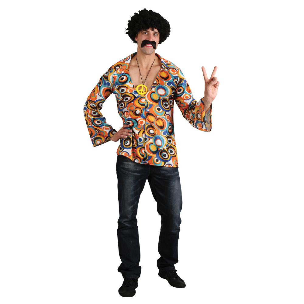 Mens Groovy Flower Power Psychedelic Halloween Fancy Dress Hippie Shirt Costume