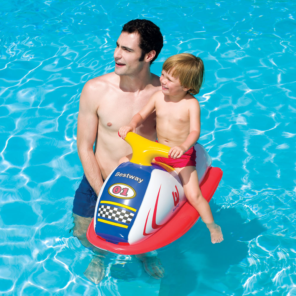 Children 39 S Inflatable Swim Water Swimming Pool Float Racer Rider Jet Ski Blue Ebay