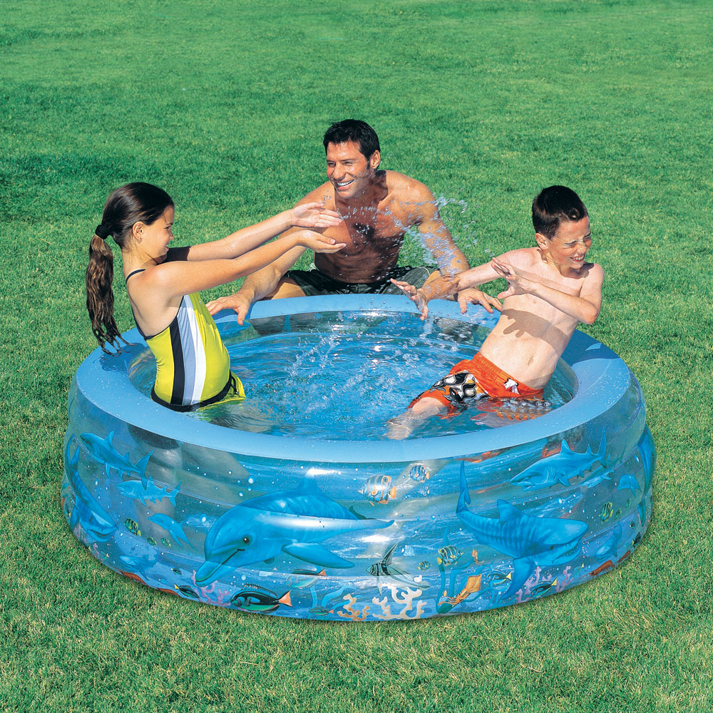 Children 39 s deluxe crystal dolphin sea life inflatable swim for Best children s paddling pool