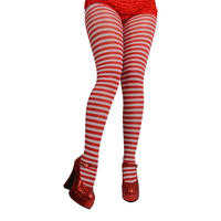 Ladies Sexy Red & White Striped Tights Fancy Dress Halloween Party Accessory
