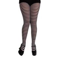 Womens Black & White Candystripe Tights Hosiery Fancy Dress Party Accessory