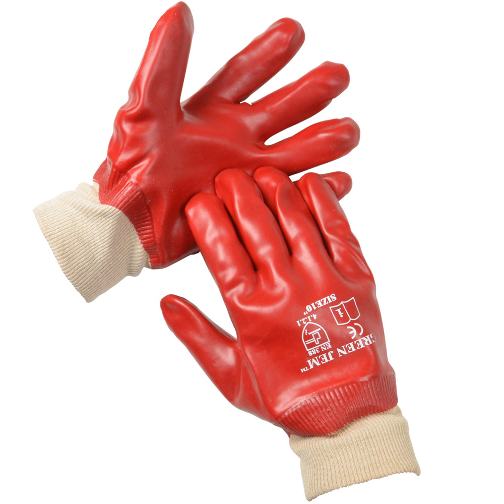 Red Smooth PVC Coated Waterproof Garden Work Gloves With ...