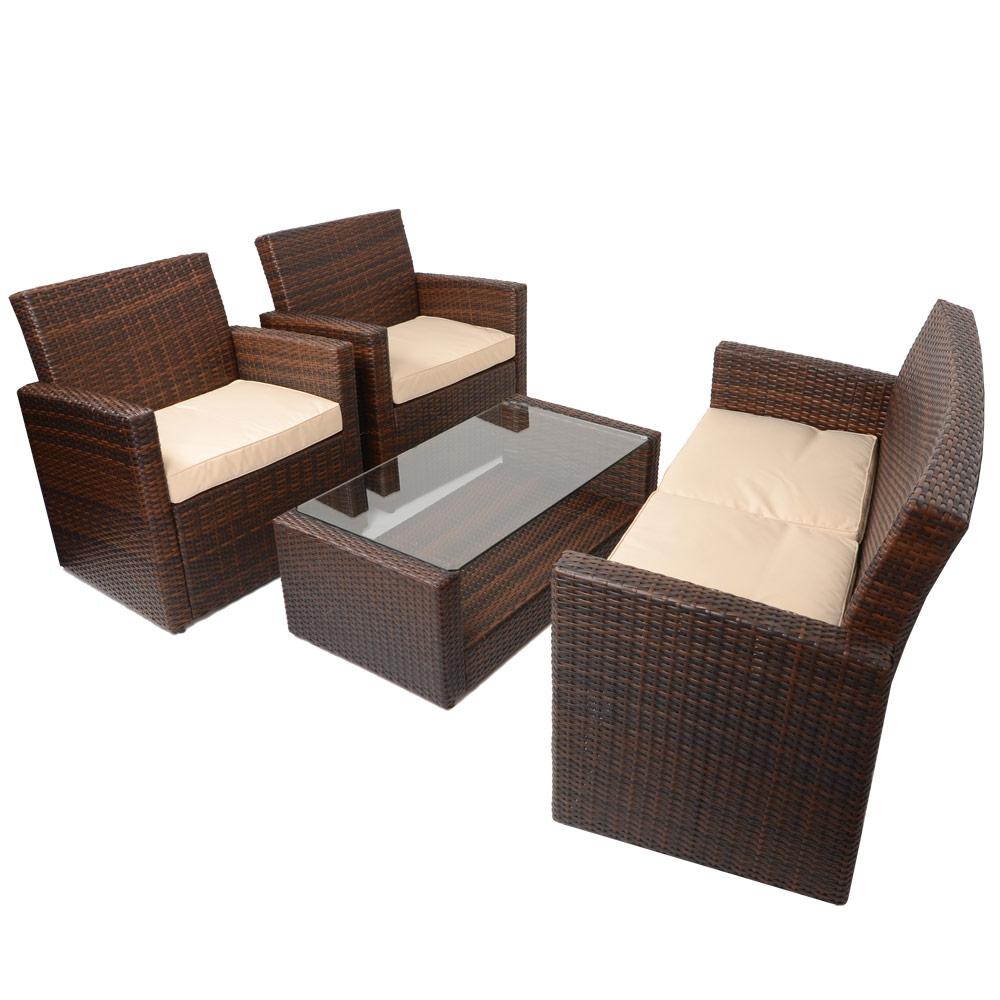Coffee Table Garden Set: 4pc Tuscany Rattan Sofa Set Garden Conservatory Furniture