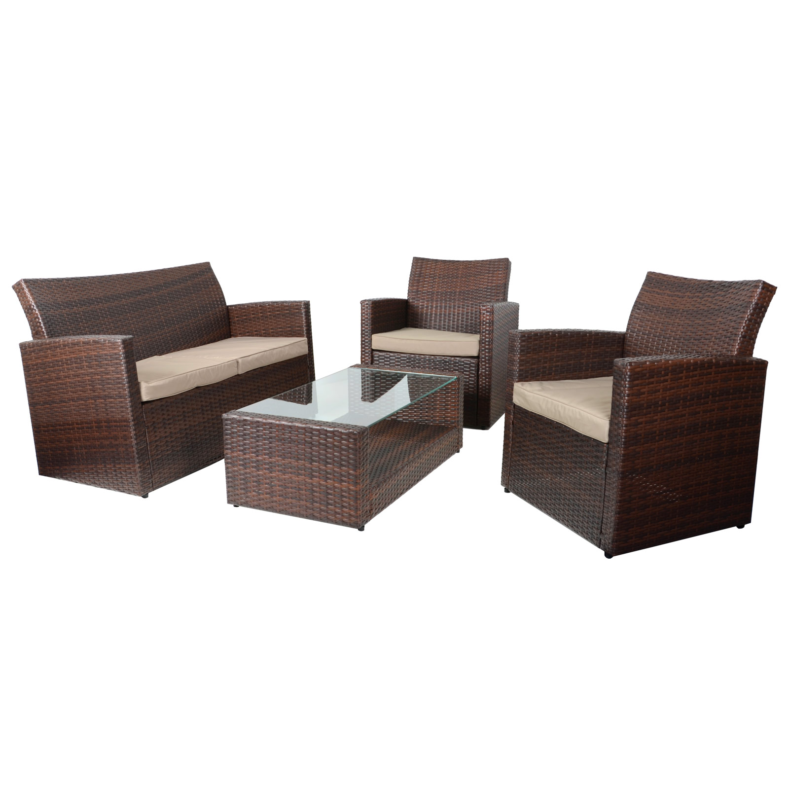 4pc Tuscany Rattan Wicker Sofa Set Garden Conservatory Furniture