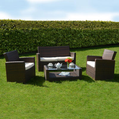 Rattan Wicker Garden Furniture on Tuscany Rattan Wicker Sofa Set Garden Conservatory Chairs Furniture