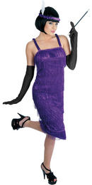 PURPLE Ladies Roaring 1920's Flapper Dress Chicago Jazz Gangster Fancy Dress Costume Thumbnail 1