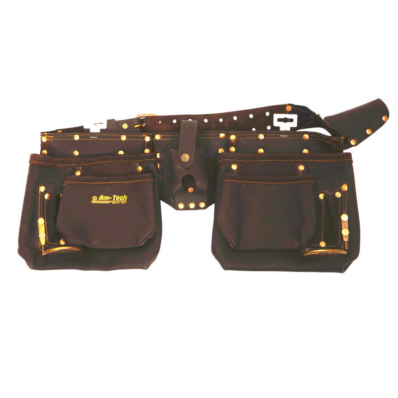 am tech 12 pocket heavy duty leather tool belt new
