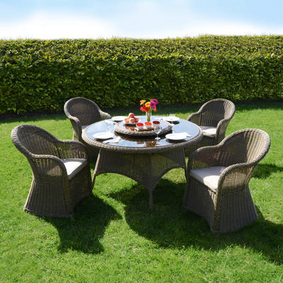 Azuma 5 Piece Cannes Wicker Rattan Garden Patio Conservatory Furniture Chairs & Table Set