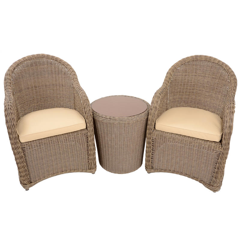 Azuma 3 Piece Cannes Wicker Rattan Garden Patio Conservatory Furniture Chairs