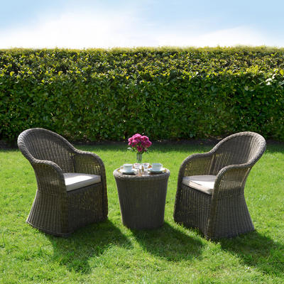 Azuma 3 Piece Cannes Wicker Rattan Garden Patio Conservatory Furniture Chairs & Table Set