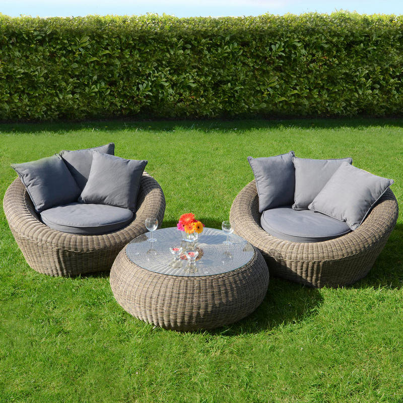 Azuma 3 Piece Genoa Wicker Rattan Garden Patio Conservatory Furniture Round Chairs & Table Set  Preview