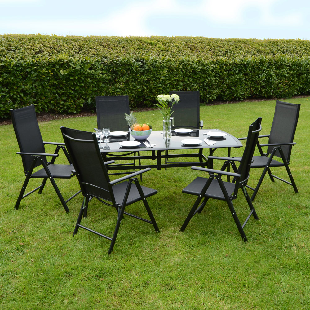 aluminium glass black modern garden dining furniture table chairs
