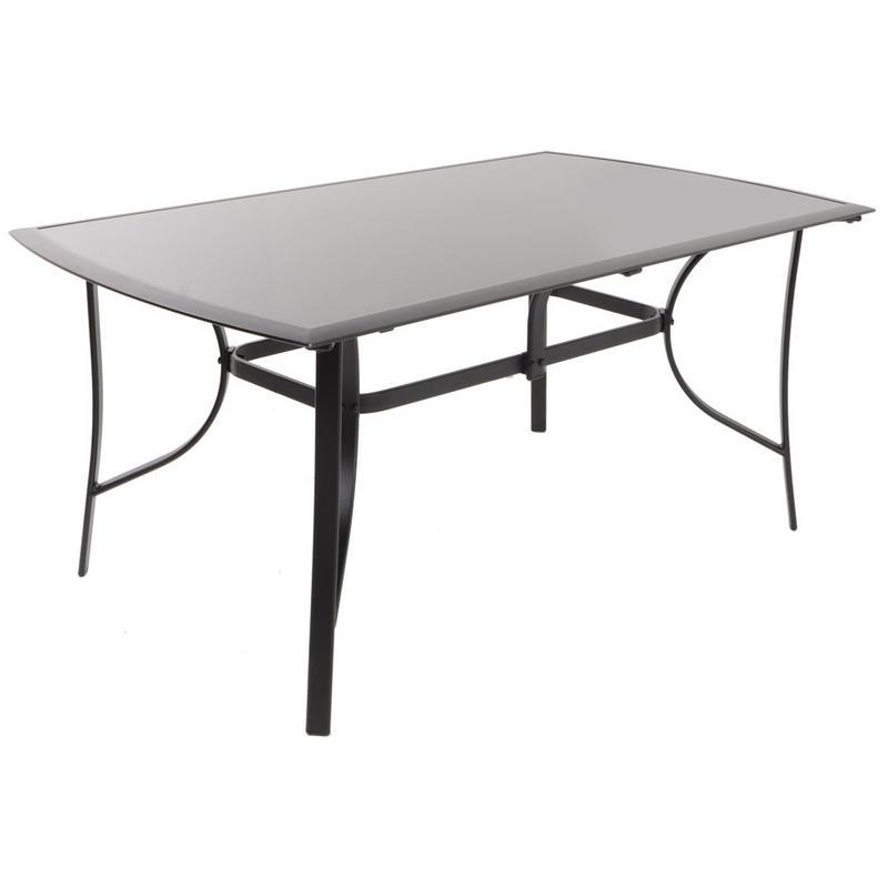 Azuma valencia 5pc black glass top table chairs garden - Black glass top dining table ...
