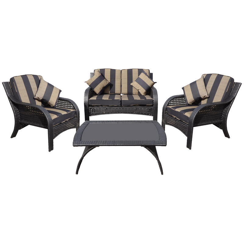 Azuma Imperial 4pc Conservatory Lounge Furniture Rattan Wicker Coffee Table & Sofa Chairs Set Preview