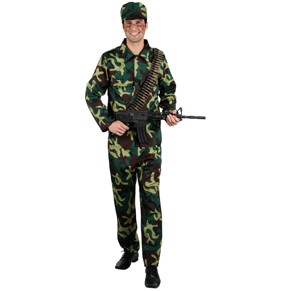 milit r armee soldat camouflage m nner verkleidung halloween karneval kost m m ebay. Black Bedroom Furniture Sets. Home Design Ideas