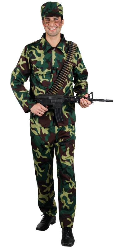 milit r armee soldat camouflage m nner verkleidung halloween karneval kost m xl ebay. Black Bedroom Furniture Sets. Home Design Ideas