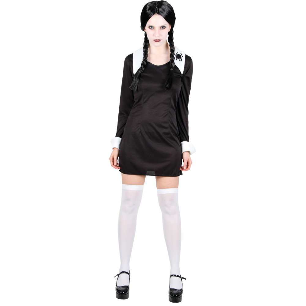 grusel adams family horror verkleidung f r frauen halloween kost m 46 48 ebay. Black Bedroom Furniture Sets. Home Design Ideas