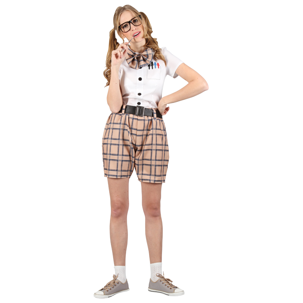 Womens High School College Nerd Geek Swot Funny Fancy Dress Party Costume Outfit | eBay